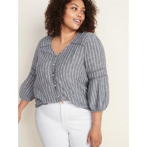 Striped Linen-Blend Button-Front Plus-Size Blouse