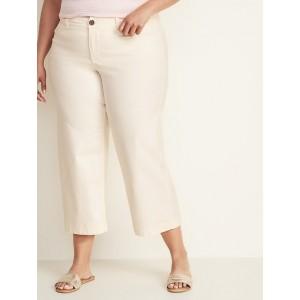 High-Rise Secret-Slim Pockets Plus-Size Wide-Leg Chinos