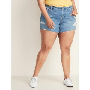 High-Rise Secret-Slim Pockets Plus-Size Denim Cutoffs - 5-inch inseam
