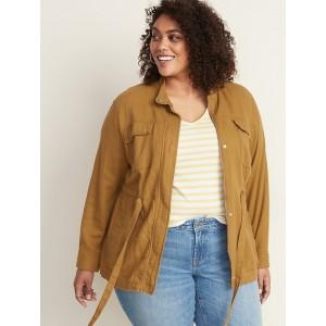 Plus-Size Linen-Blend Utility Jacket