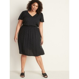 Plus-Size Waist-Defined V-Neck Dress