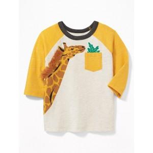 Fringed Giraffe Graphic 3/4-Sleeve Tee for Toddler Boys