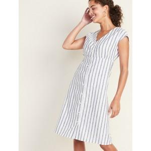 Striped Linen-Blend Button-Front V-Neck Midi for Women