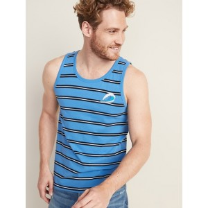 Soft-Washed Striped Embroidered-Graphic Tank for Men