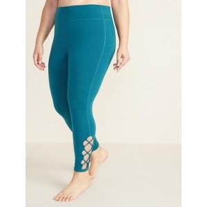 High-Rise Plus-Size 7/8-Length Lattice-Hem Leggings