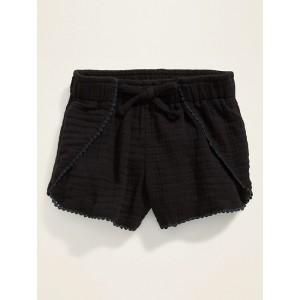 Tulip-Hem Textured Shorts for Toddler Girls