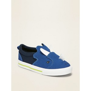 Canvas Triceratops Critter Slip-Ons for Toddler Boys