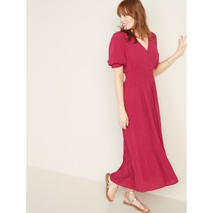 Waist-Defined Wrap-Front Crepe Midi for Women
