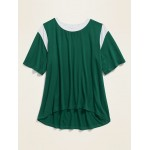 Color-Blocked Flutter-Sleeve Tee for Girls