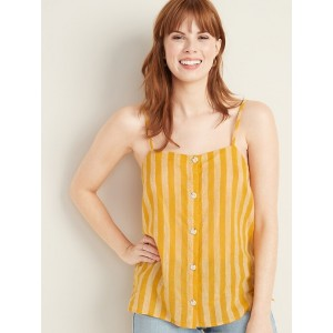Striped Button-Front Linen-Blend Cami for Women