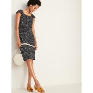 Ruffle-Trim Ponte-Knit Sheath Dress for Women