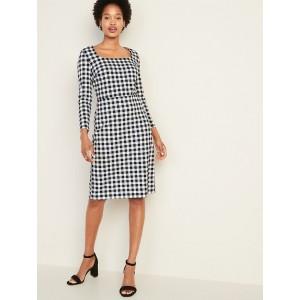 Square-Neck Sheath Dress for Women