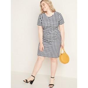 Printed Ponte-Knit Plus-Size Sheath Dress