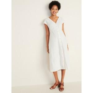 Button-Front V-Neck Linen-Blend Midi for Women