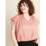 Smocked Split-Neck Plus-Size Dobby Blouse