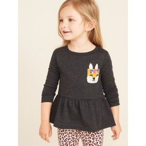 French Terry Graphic Peplum Tunic for Toddler Girls