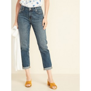 Mid-Rise Boyfriend Straight Jeans for Women