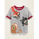 Critter Wrap-Around Graphic Ringer Tee for Toddler Boys