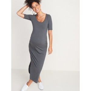 Maternity Jersey Elbow-Sleeve Maxi