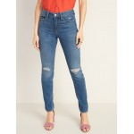 High-Rise Secret-Slim Pockets Distressed Power Slim Straight Jeans for Women