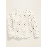 Thermal-Knit Long-Sleeve Tee for Toddler Girls