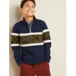 Color-Blocked 1/4-Zip Mock-Neck Pullover for Boys
