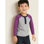 Color-Blocked Slub-Knit Henley for Toddler Boys