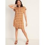 Plaid Shirred Shirt Dress for Women