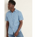 Slim-Fit Printed Chambray Shirt for Men