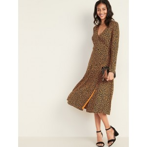 Waist-Defined Faux-Wrap Jersey Midi for Women