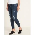 Maternity Premium Full Panel Distressed Raw-Edge Rockstar Jeans