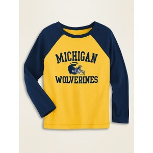 College-Team Graphic Raglan-Sleeve Tee for Toddler Boys