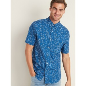Slim-Fit Built-In Flex Dinosaur-Print Shirt for Men