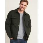 Fleece-Knit Snap-Front Shirt Jacket for Men
