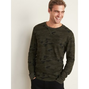 Soft-Washed Built-In Flex Thermal-Knit Patterned Tee for Men