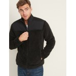 Pieced-Yoke Teddy Fleece Jacket for Men