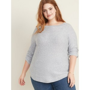Textured-Stitch Boat-Neck Plus-Size Tunic Sweater
