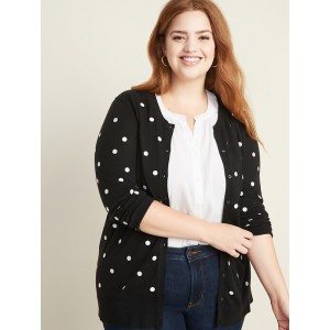 Printed Crew-Neck Plus-Size Cardigan