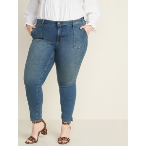 High-Waisted Secret-Slim Pockets Plus-Size Rockstar Super Skinny Ankle Jeans