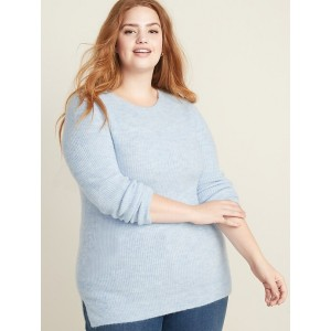 Shaker-Stitch Crew-Neck Plus-Size Sweater