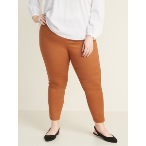 High-Waisted Plus-Size Twill Pull-On Pants