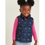 Frost-Free Printed Puffer Vest for Toddler Girls