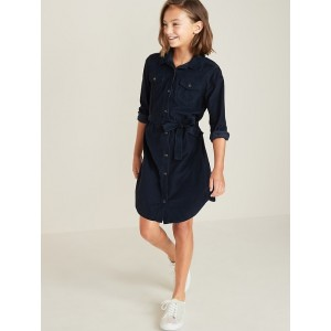Corduroy Tie-Belt Shirt Dress for Girls
