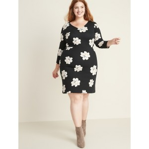 Floral-Print Secret-Slim Plus-Size Sheath Dress