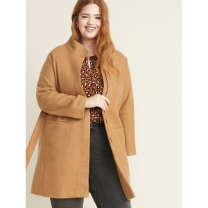 Oversized Soft-Brushed Funnel-Neck Tie-Belt Plus-Size Coat