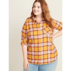 Plaid Twill No-Peek Plus-Size Classic Shirt
