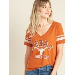 College-Team Graphic Sleeve-Stripe V-Neck Tee for Women