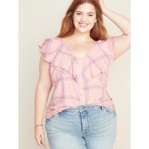 Ruffle-Neck No-Peek Plus-Size Linen-Blend Blouse