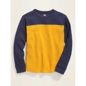 Relaxed Color-Blocked Thermal Tee for Boys