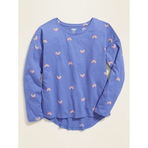 Printed Softest Long-Sleeve Crew-Neck Tee for Girls